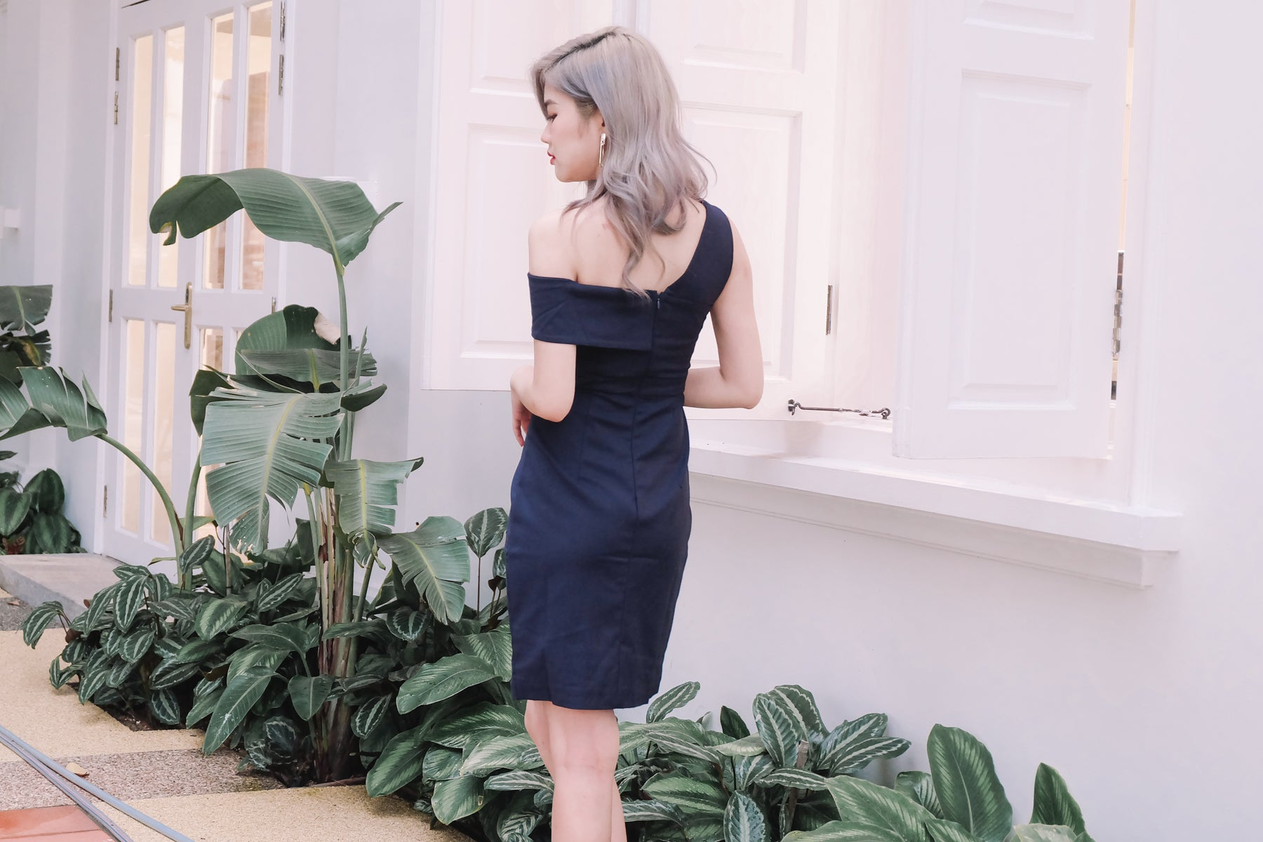 [Restocked] One Shoulder Bardot Dress in Navy