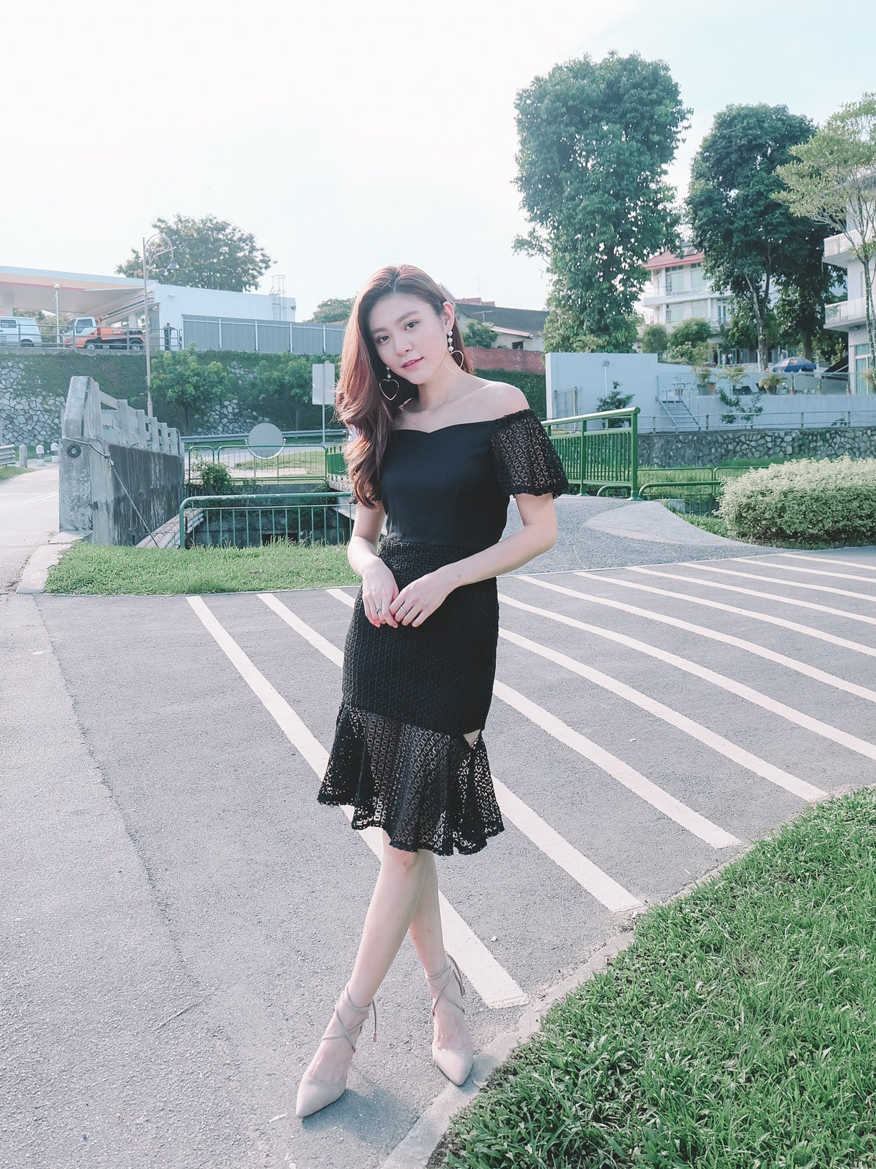 Crochet Semi Sheer Midi Dress in Black