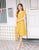 Aliyah Linen Button Dress in Yellow