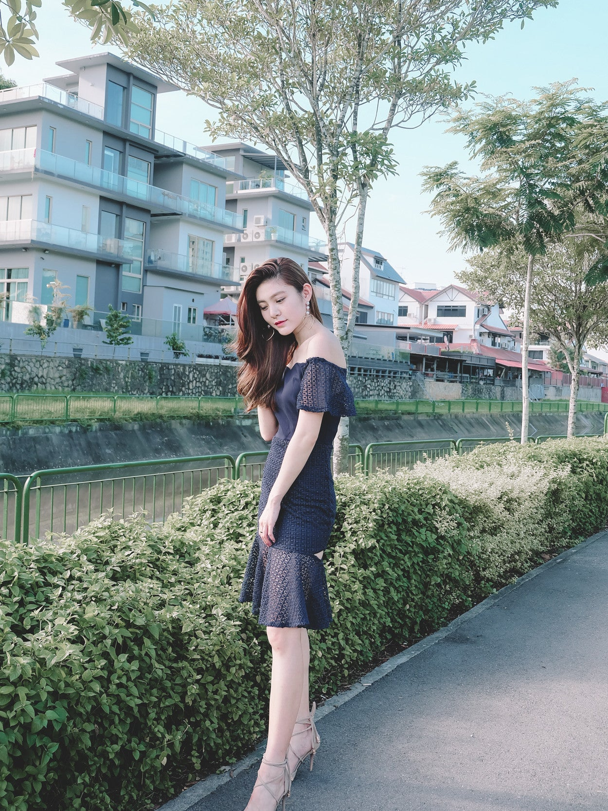 Crochet Semi Sheer Midi Dress in Navy