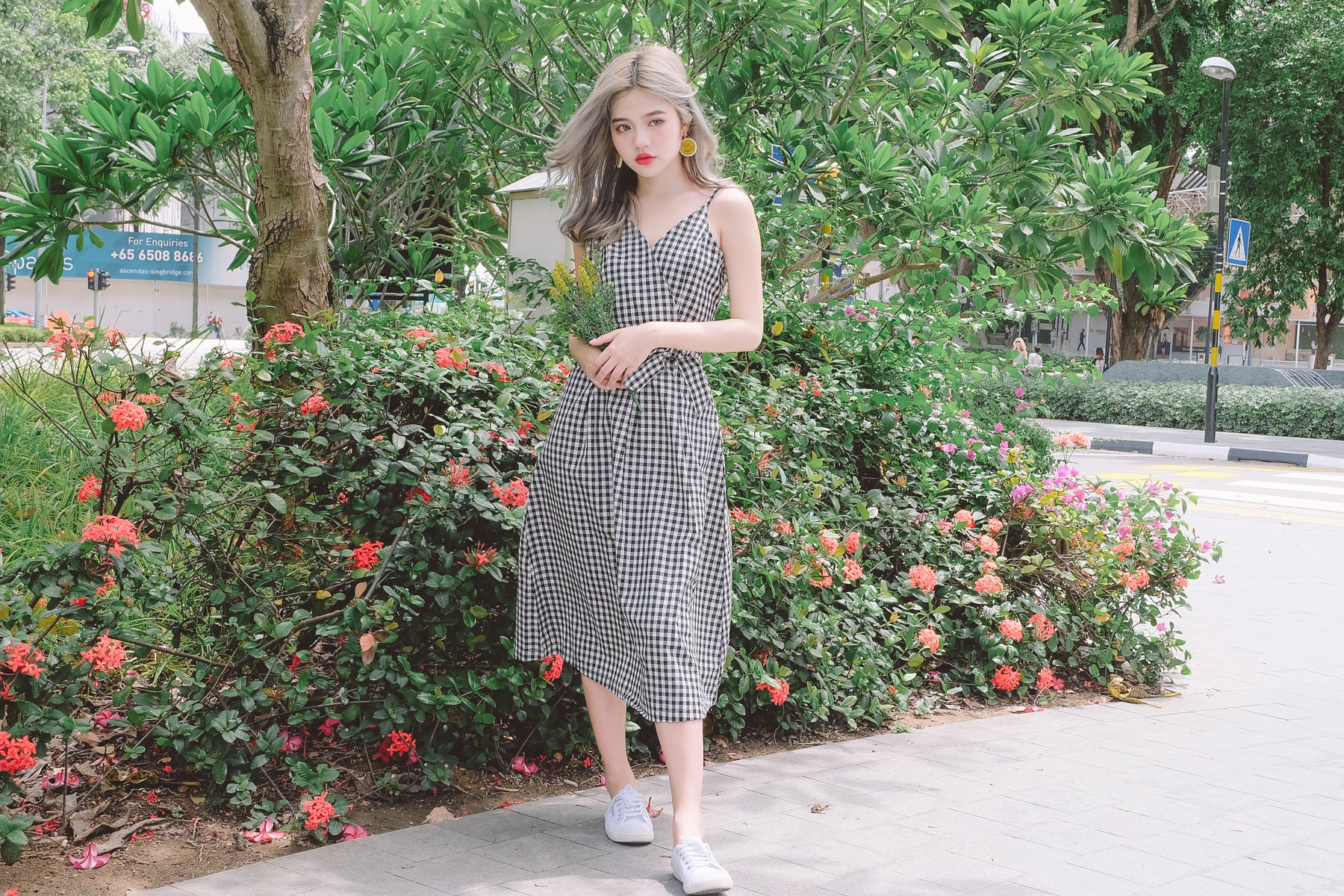 [Restocked] Gingham Wrap Tie-Waist Dress