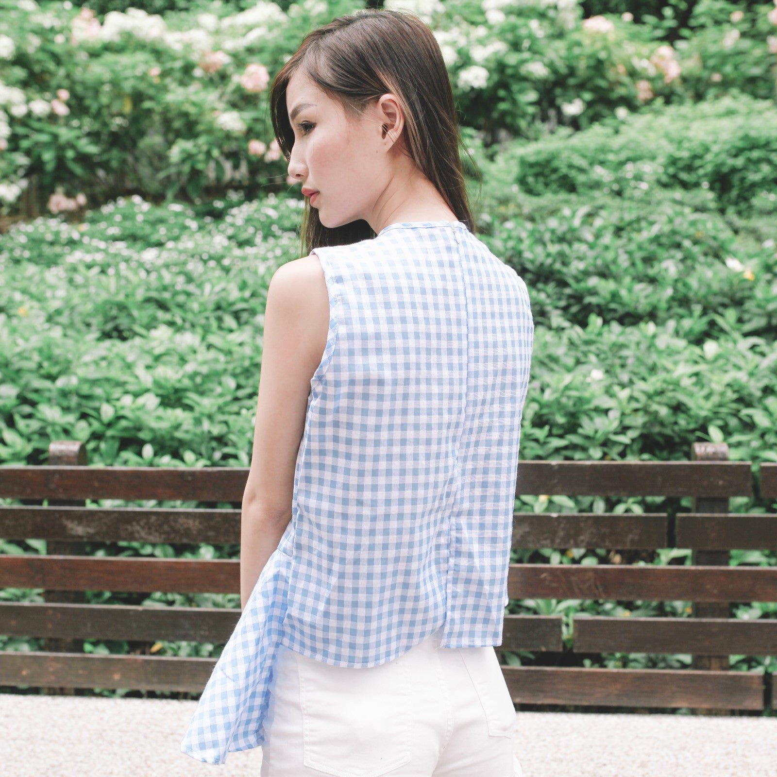 Blue Check Asymmetrical Top
