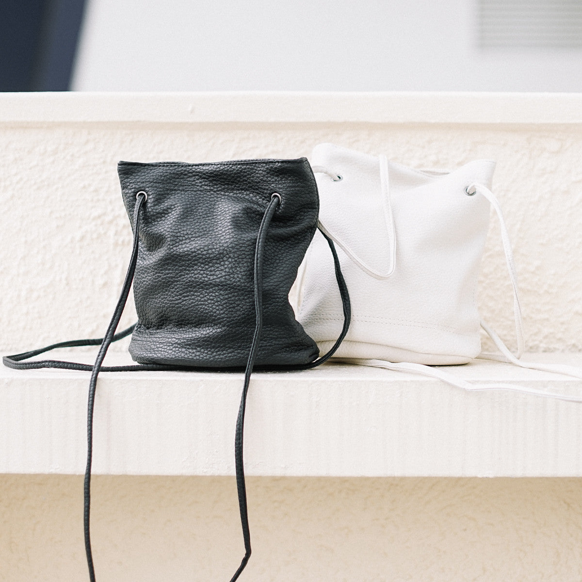 Mini Textured-Leather Bucket Bag