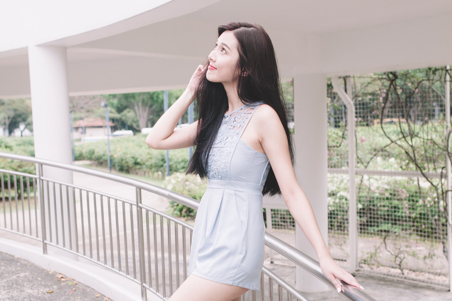 [Restocked] Lace-Paneled Romper in Blue