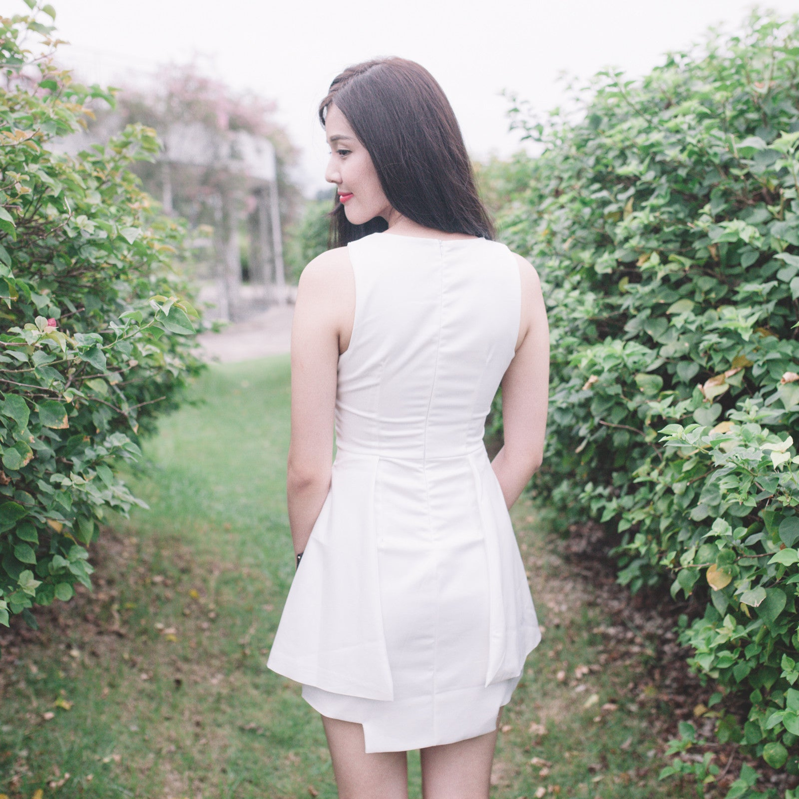 Step Hem Dress in White