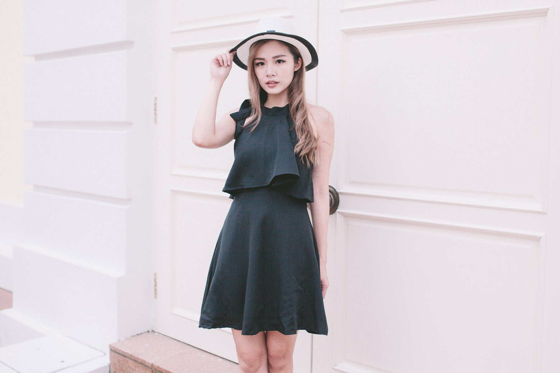 Halter Tie Neck Dress in Black