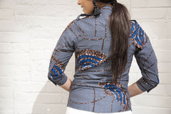 Navy Blue African Print Buttoned down shirt