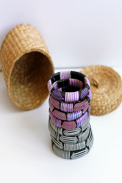 Purple and Black African Nomad Bangles