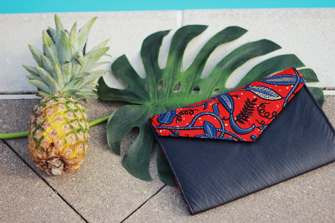 Leaf Trail and Faux Black Leather Clutch Bag