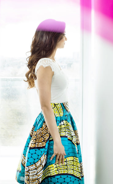 Kaleena Blue and Yellow Midi Skirt