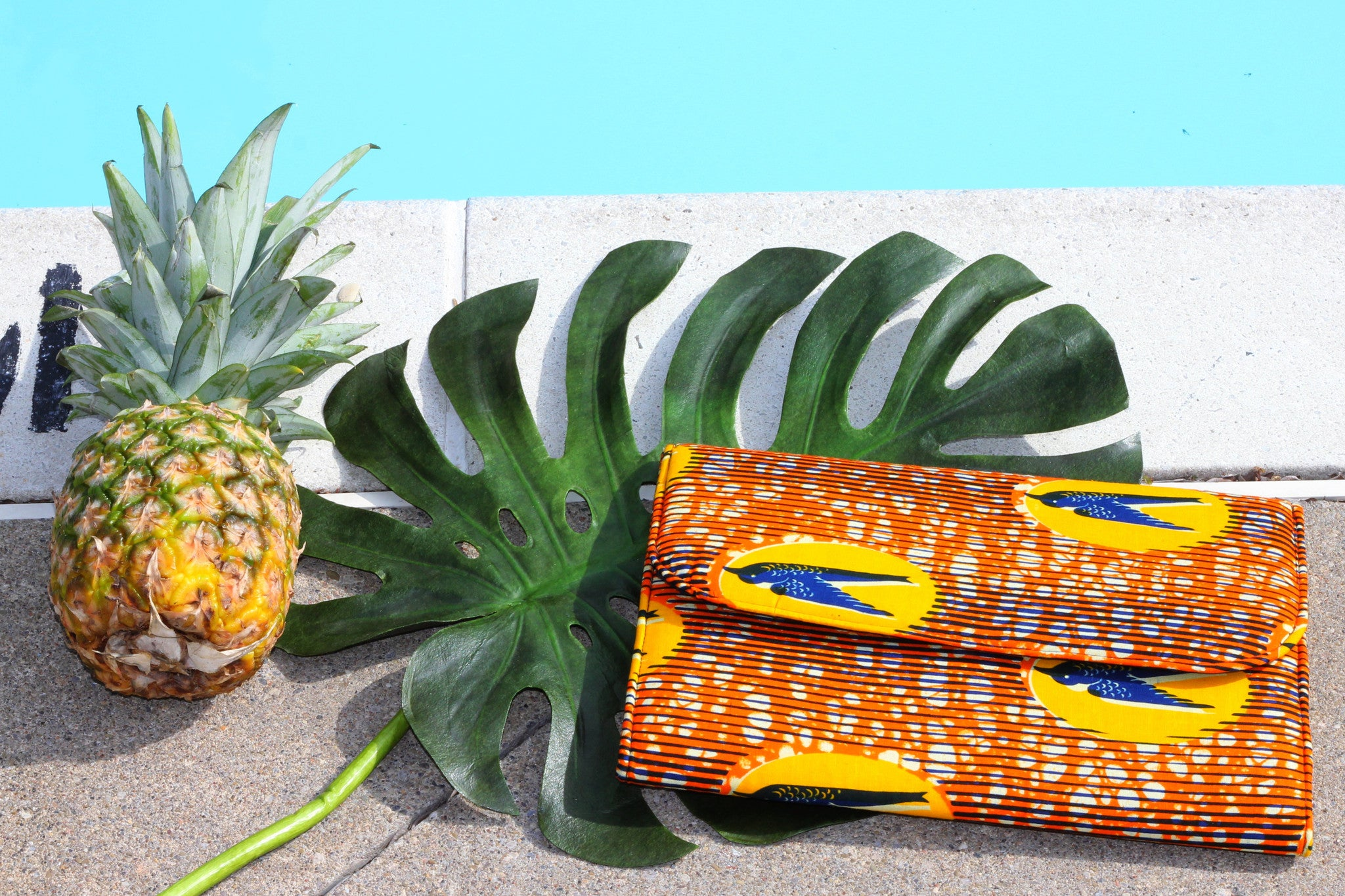 Ankara clutch Hummingbird clutch