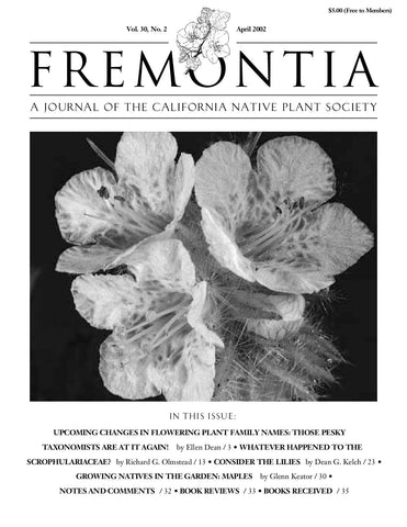 Fremontia Vol. 30, No. 2
