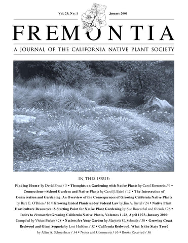 Fremontia Vol. 29, No. 1