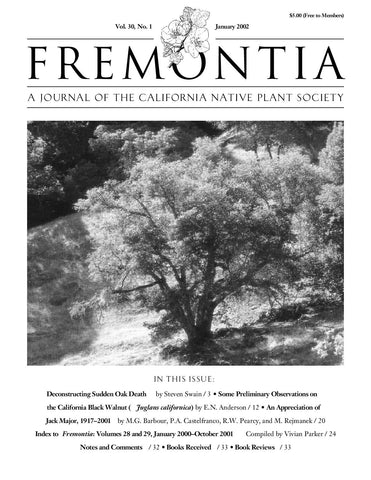Fremontia Vol. 30, No. 1