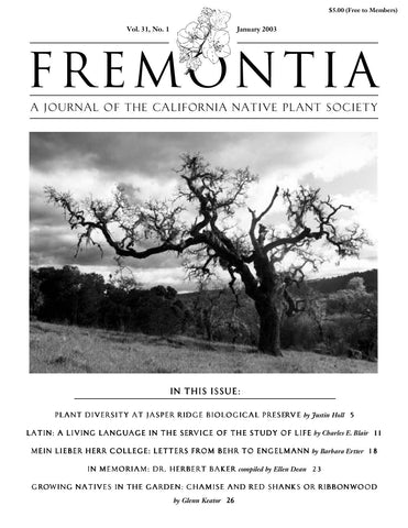 Fremontia Vol. 31, No. 1