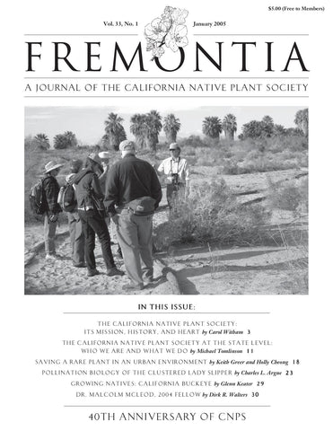 Fremontia Vol. 33, No. 1