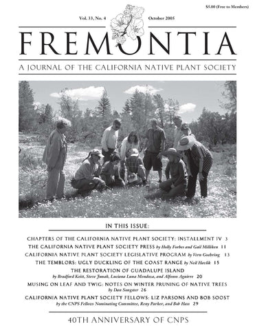 Fremontia Vol. 33, No. 4
