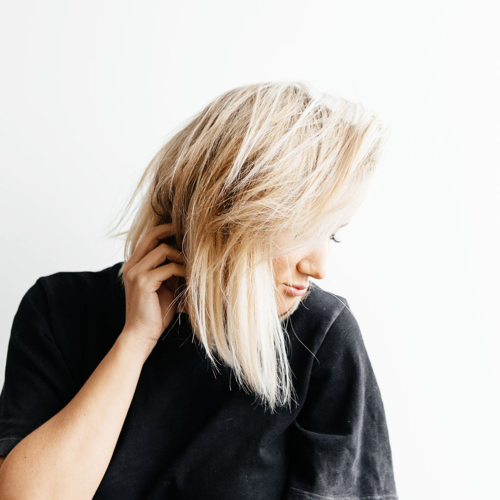 woman with blonde blunt bob haircut