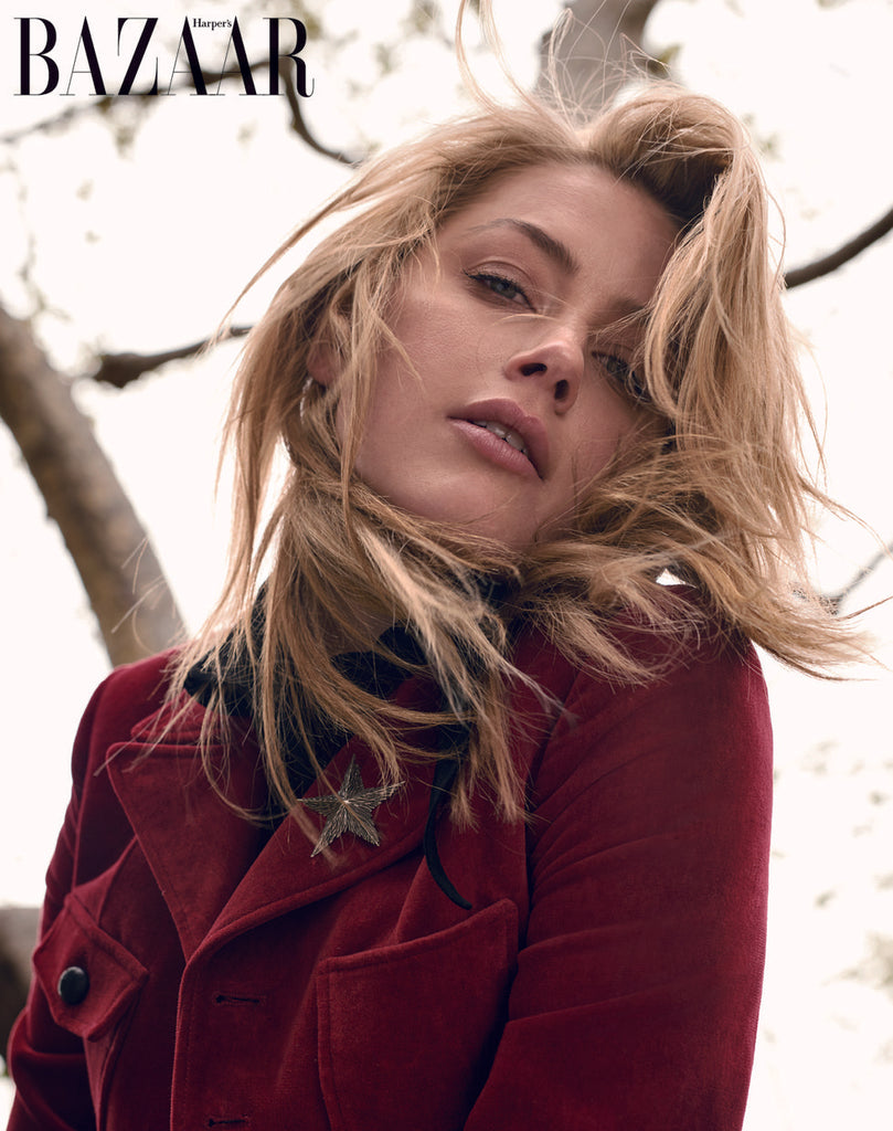 up close shot of amber heard in harper's bazaar taiwan wearing laced hair extensions
