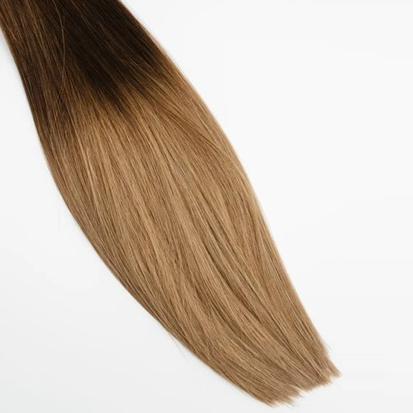 Halfsies Hand Tied Weft Extensions Ombré #3/8 (Spiced Cider)
