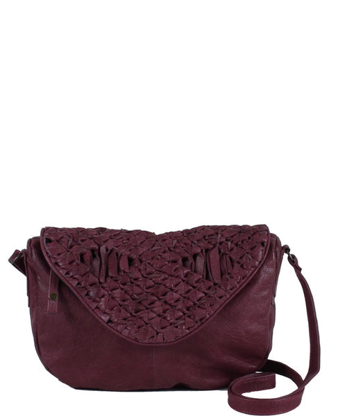 DAY & MOOD Berry Leather Crossbody Dark Purple
