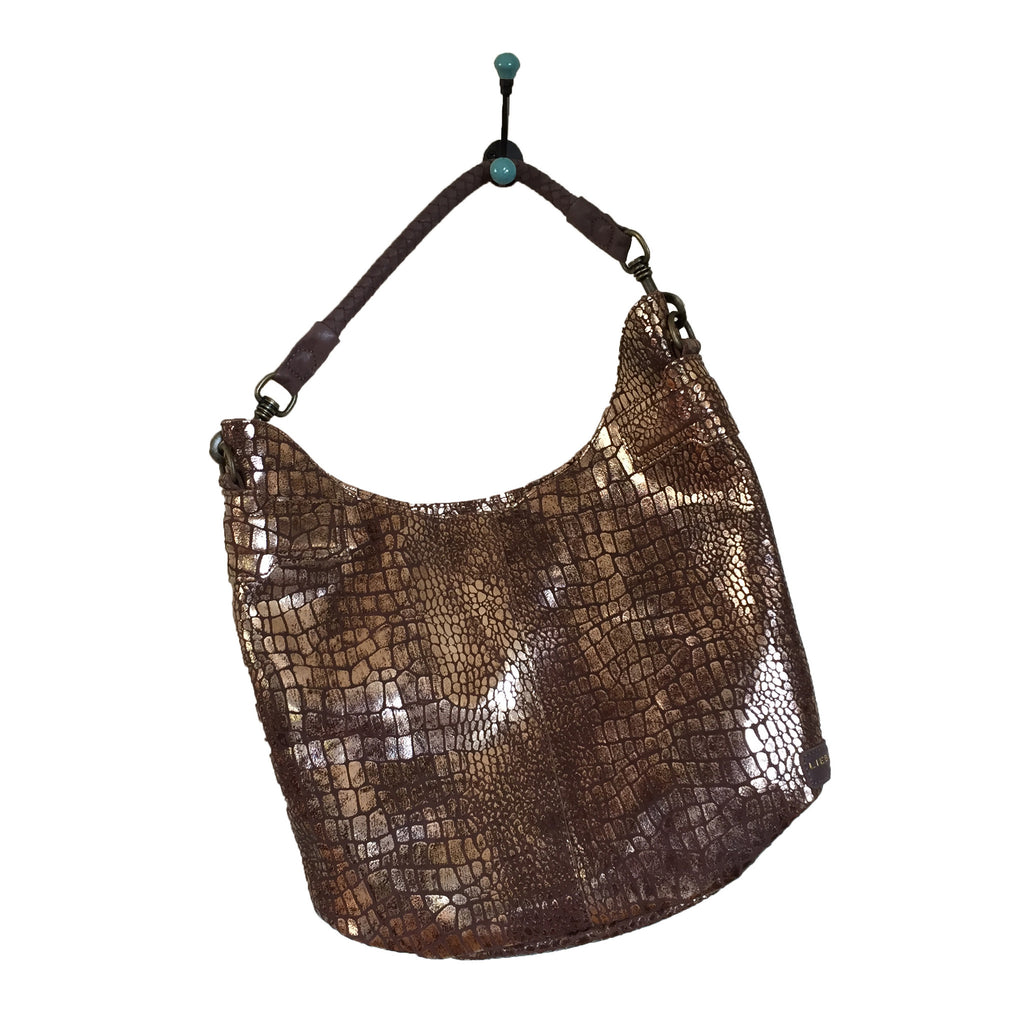 Liebeskind Berlin Metallic Croco Vanessa Hobo Gold