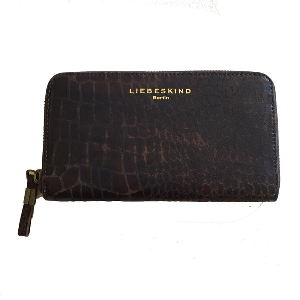 Liebeskind Berlin Metallic Croco Cassie Wallet Dark Brown