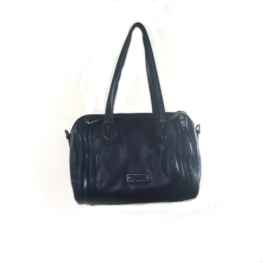 Liebeskind Berlin Zip Pretty Leather Satchel Black