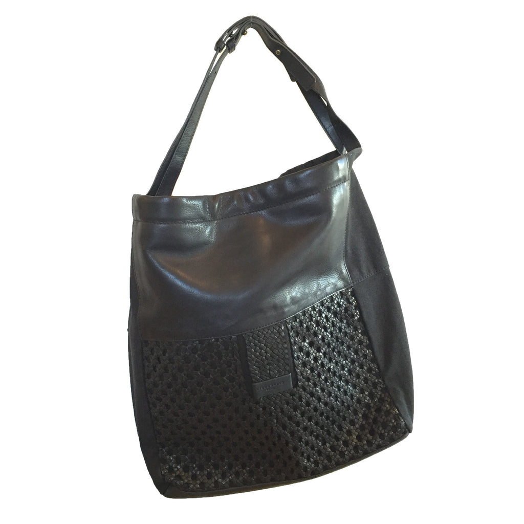 Liebeskind Berlin Woven Vegetable Majory Hobo Leather Canvas Black