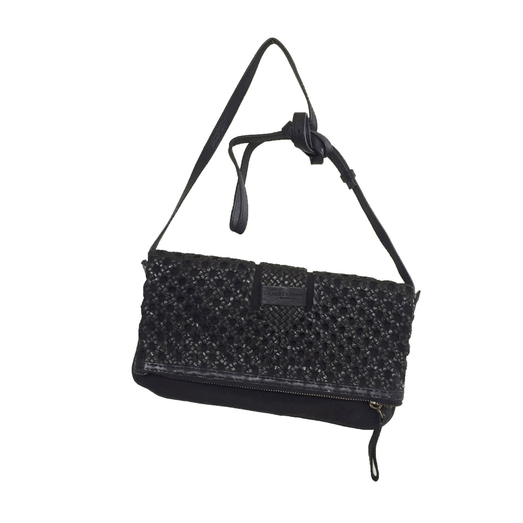 Liebeskind Berlin Woven Vegetable Aloe Clutch Leather Black
