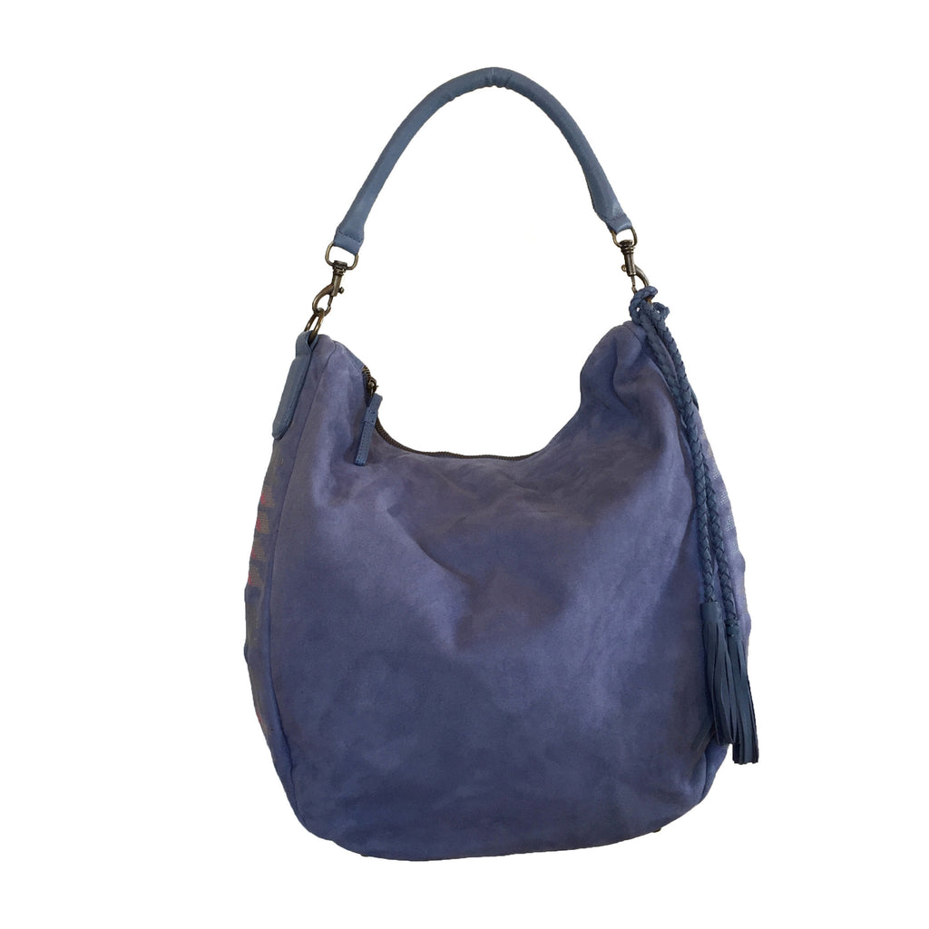 Liebeskind Berlin Embroidery Niva Leather Hobo Blue