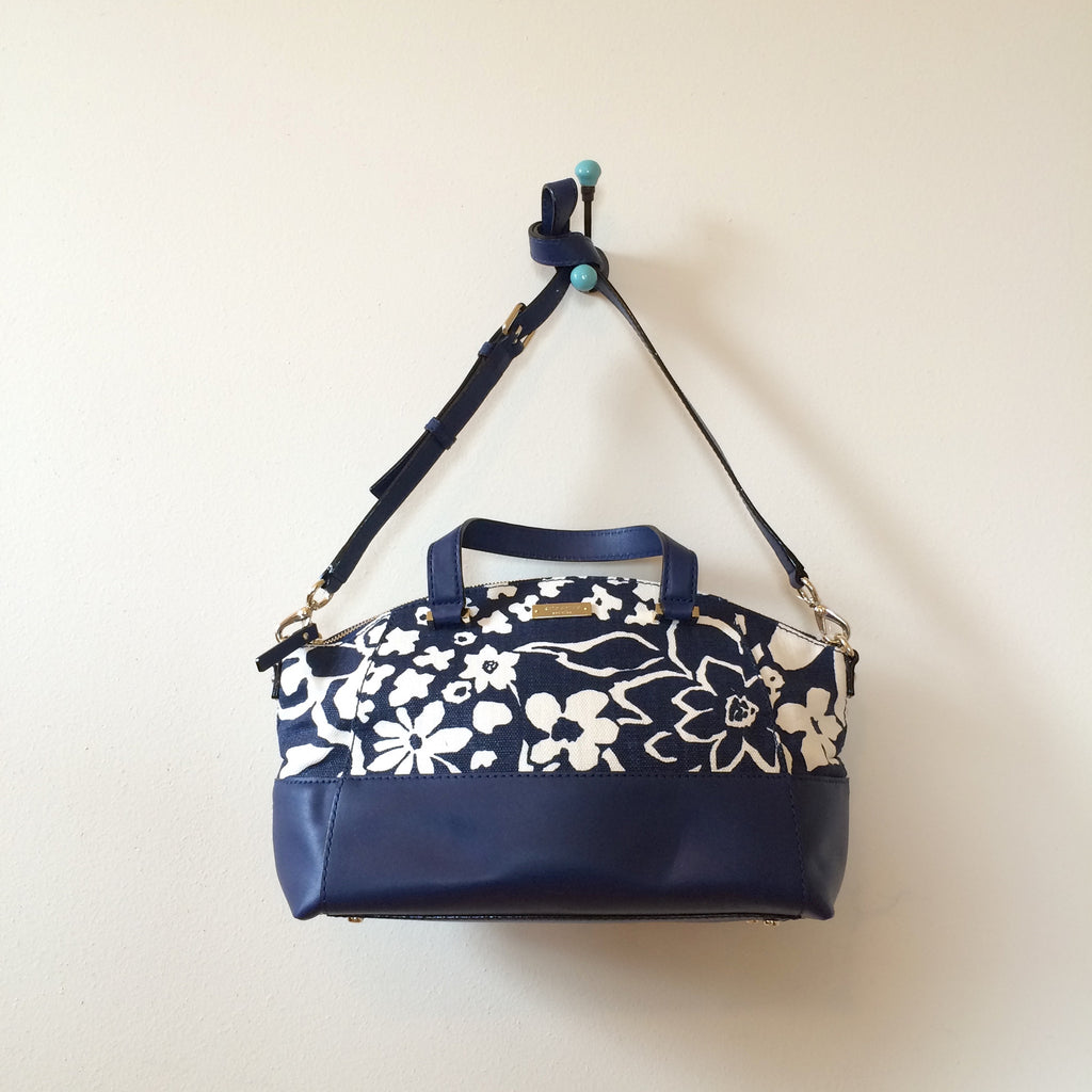 Kate Spade Charlotte Street Fabric Small Sloan Satchel French Navy