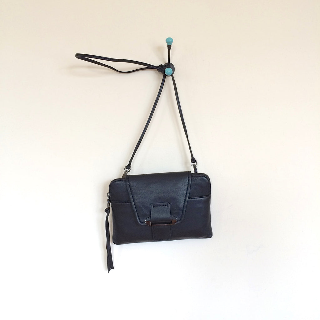 Kooba Lambskin Emery Crossbody Bag Black