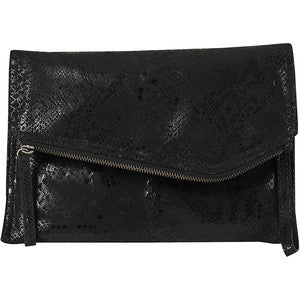 DAY & MOOD Shiloh Snake Leather Clutch Black