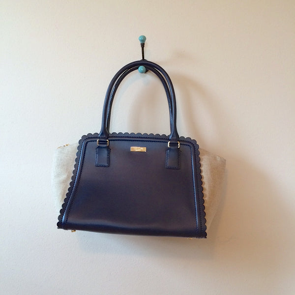 Kate Spade Lilac Road Marguerite Satchel Natural Midnight Blue - 1