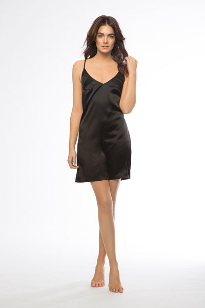 Anna Short Black Silk Slip