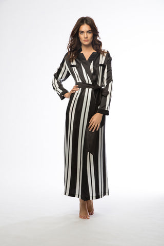 Brigitte Black & White Stripe Long Silk Robe