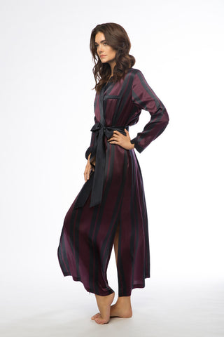 Brigitte Plum & Navy Stripe Long Silk Robe