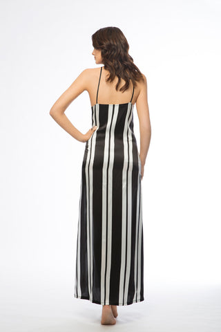 Brody Black & White Long Silk Slip