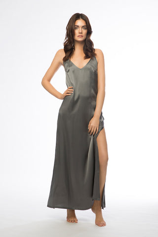 Brody Charcoal Long Silk Slip