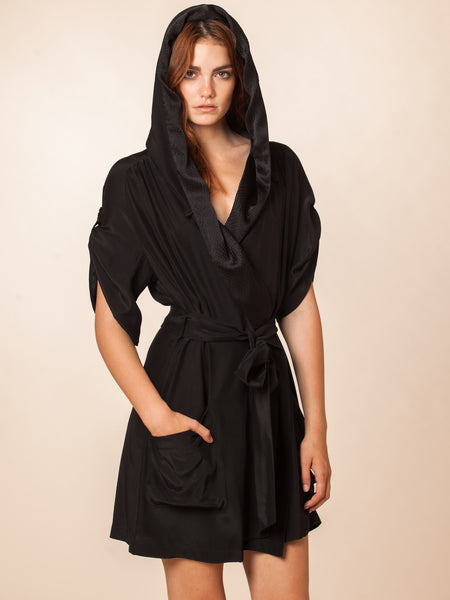 Bowie Black 100% Silk Robe