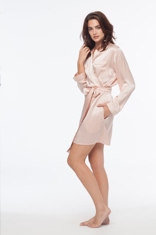 Brigitte Blush 100% Silk Robe