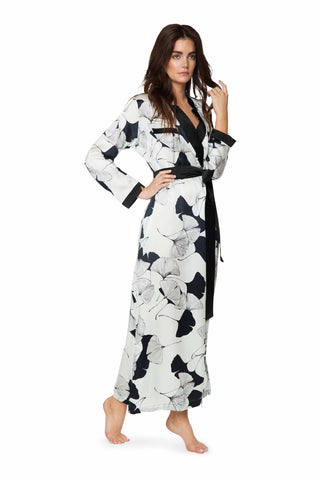 Brigitte Fan Stripe Long Silk Robe