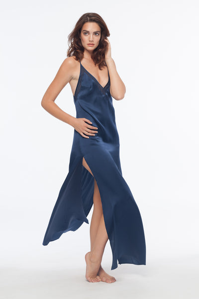 Cameron Navy 100% Silk Slip Dress