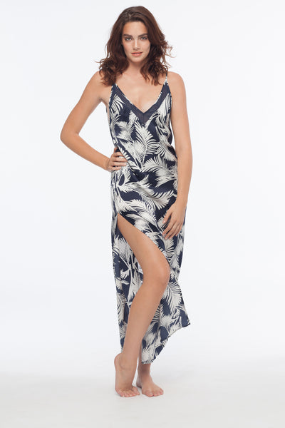 Cameron Palm 100% Silk Slip Dress