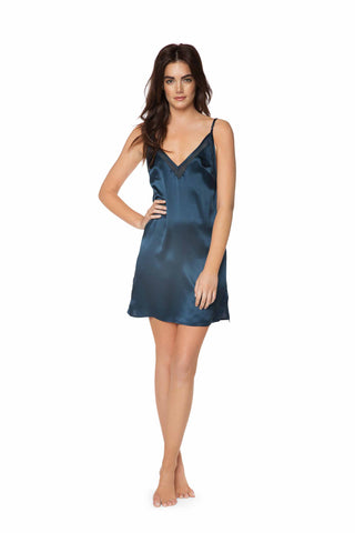 Drew Midnight Blue Silk Slip Dress