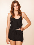 Sydney 100% Silk Black Tank & Shorts