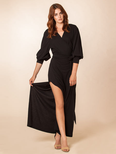 Kate Black Modal/Silk Maxi Robe