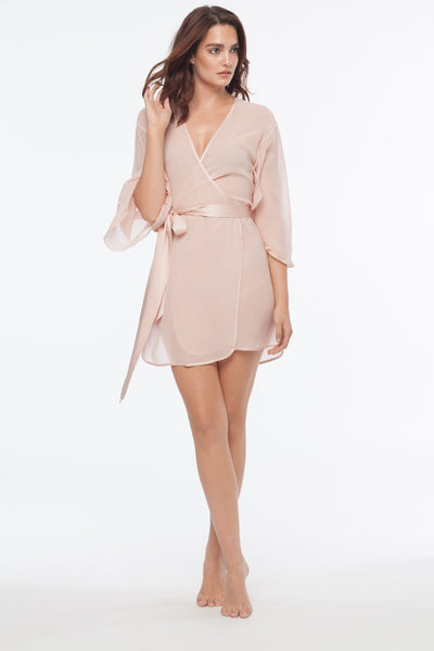 Kimono Riley Blush Sheer Silk Robe