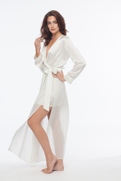 Naomi Blanc Sheer Maxi Silk Robe